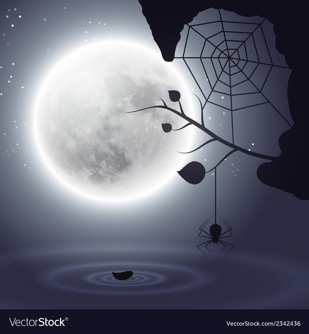 Halloween background with moon and spider vector | Price: 1 Credit (USD $1)