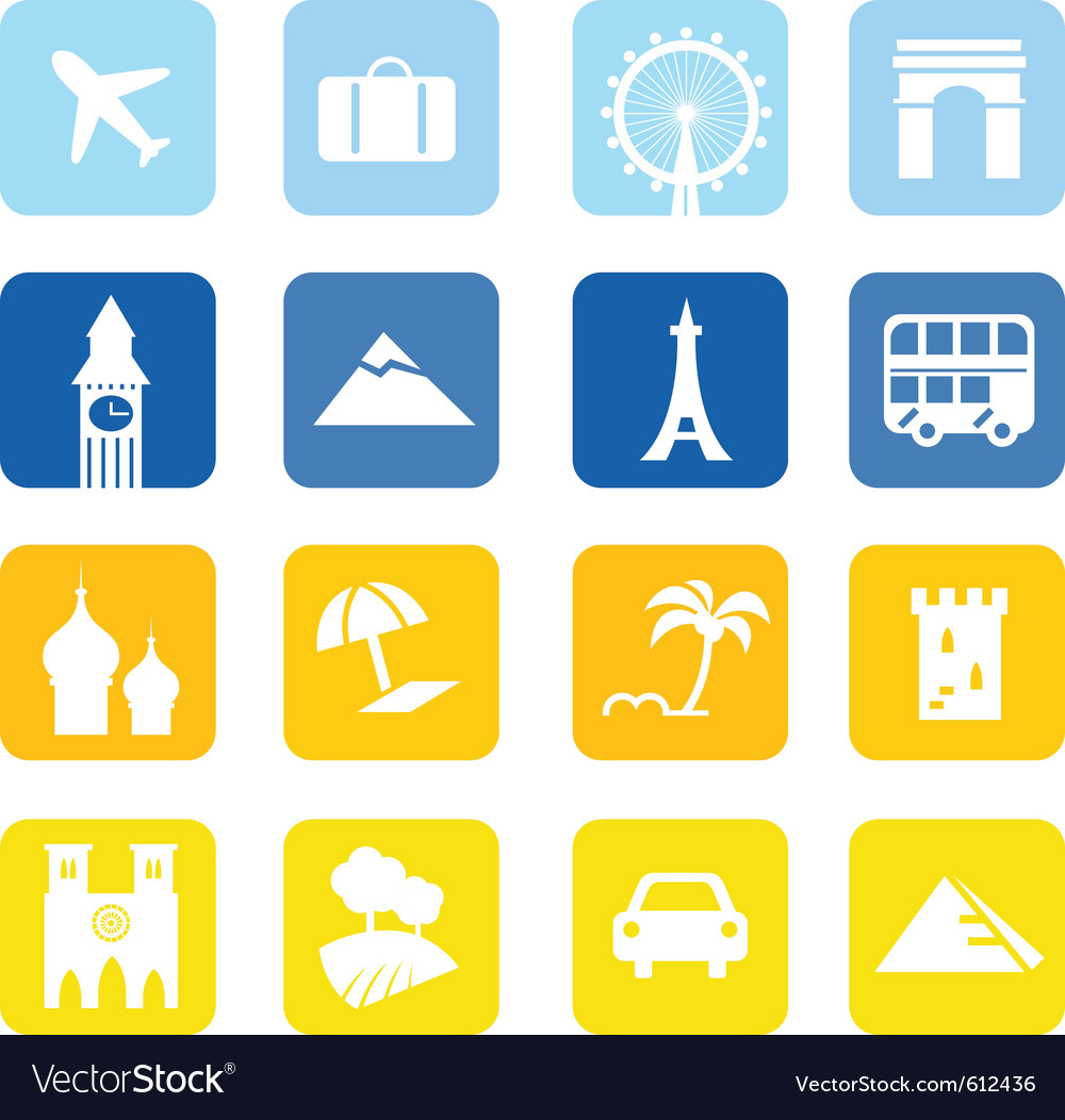 Landmark travel icons vector | Price: 1 Credit (USD $1)
