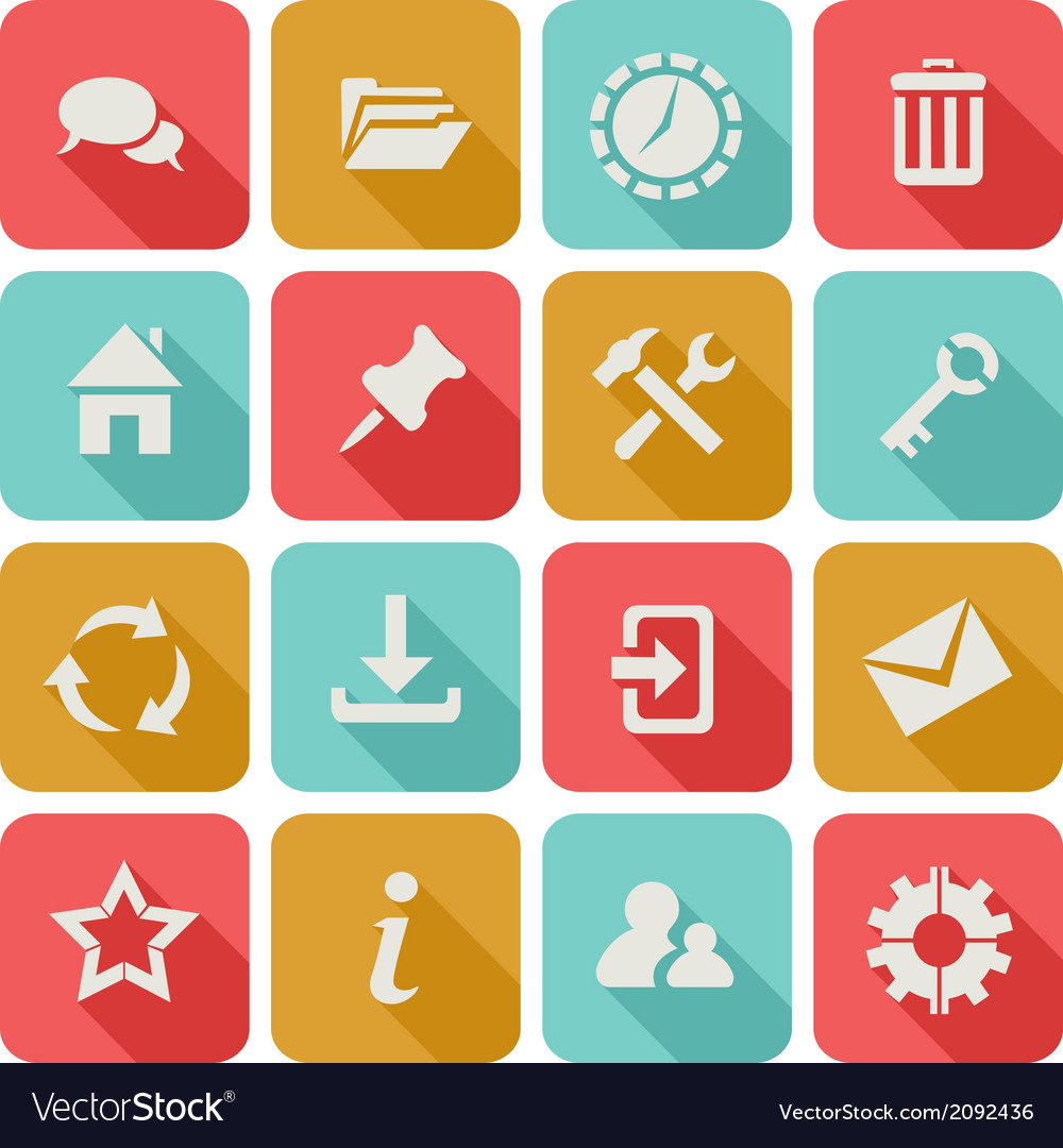 Long shadow flat icons set 1 vector | Price: 1 Credit (USD $1)