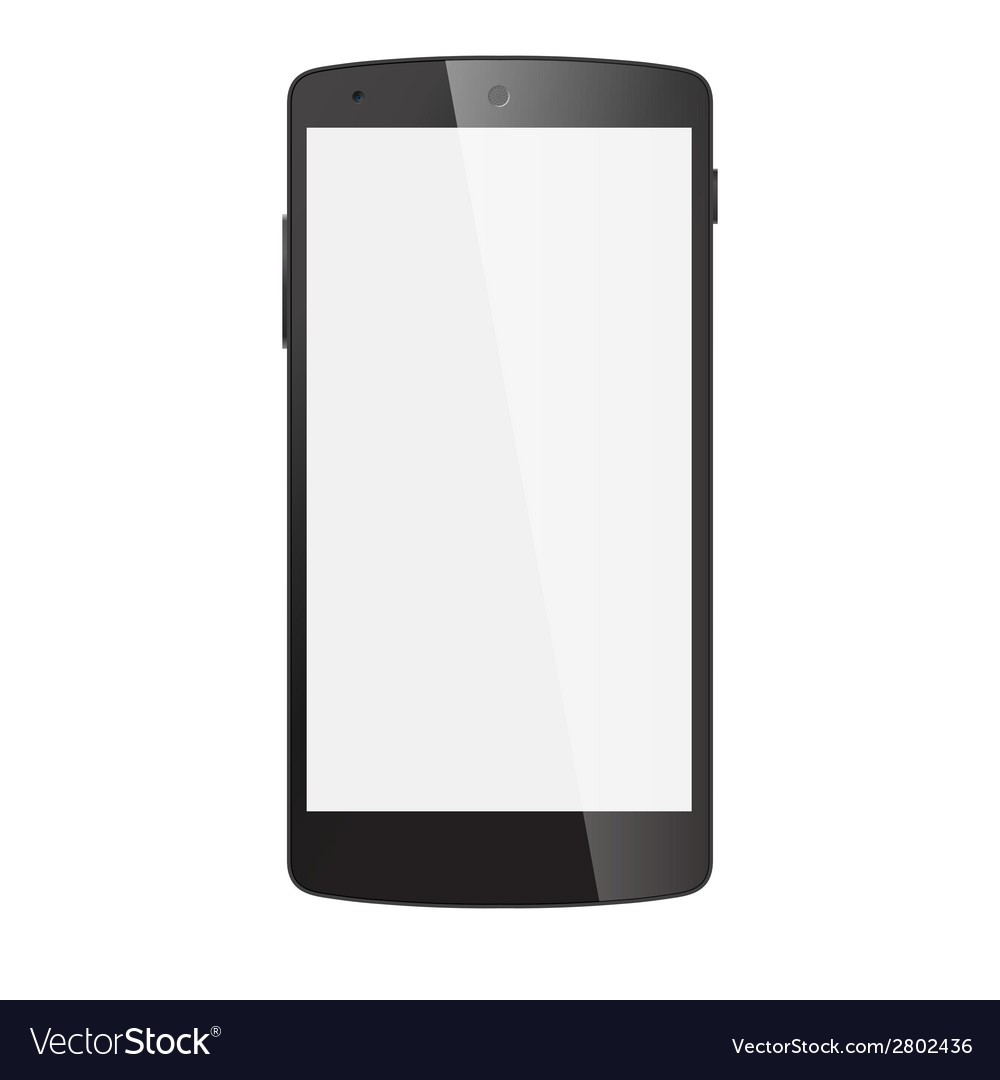 Realistic black mobile phone with blank screen vector | Price: 1 Credit (USD $1)