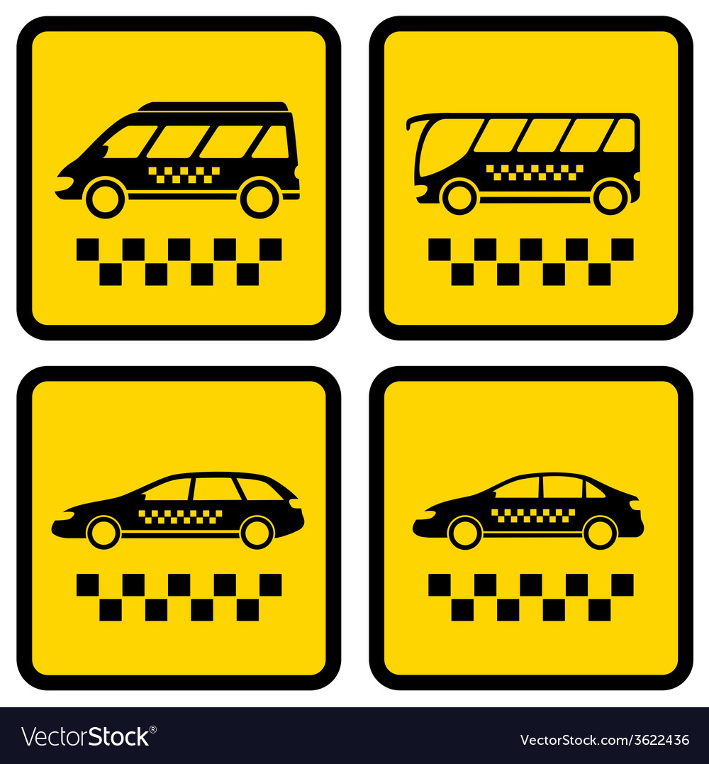 Set four taxi icons vector | Price: 1 Credit (USD $1)