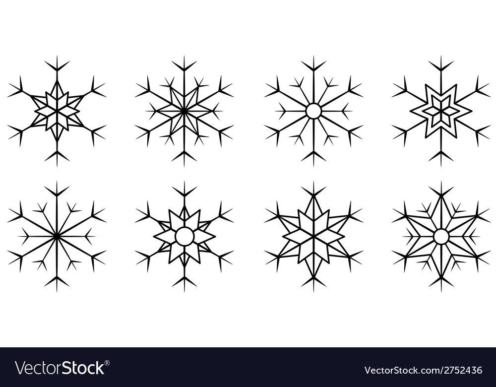 Set isolated snowflake vector | Price: 1 Credit (USD $1)