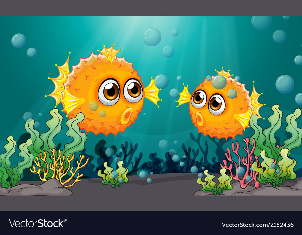 Two puffer fishes under the sea vector | Price: 3 Credit (USD $3)