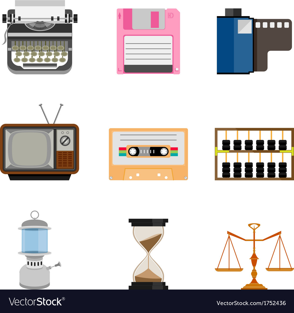 Vintage equipment icon set vector | Price: 1 Credit (USD $1)