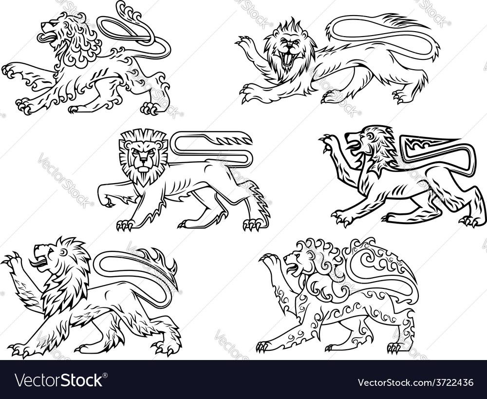 Vintage heraldic lions set vector | Price: 1 Credit (USD $1)
