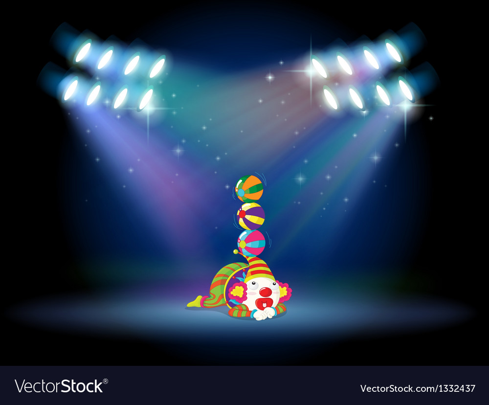A clown doing some tricks at the center of the vector | Price: 1 Credit (USD $1)