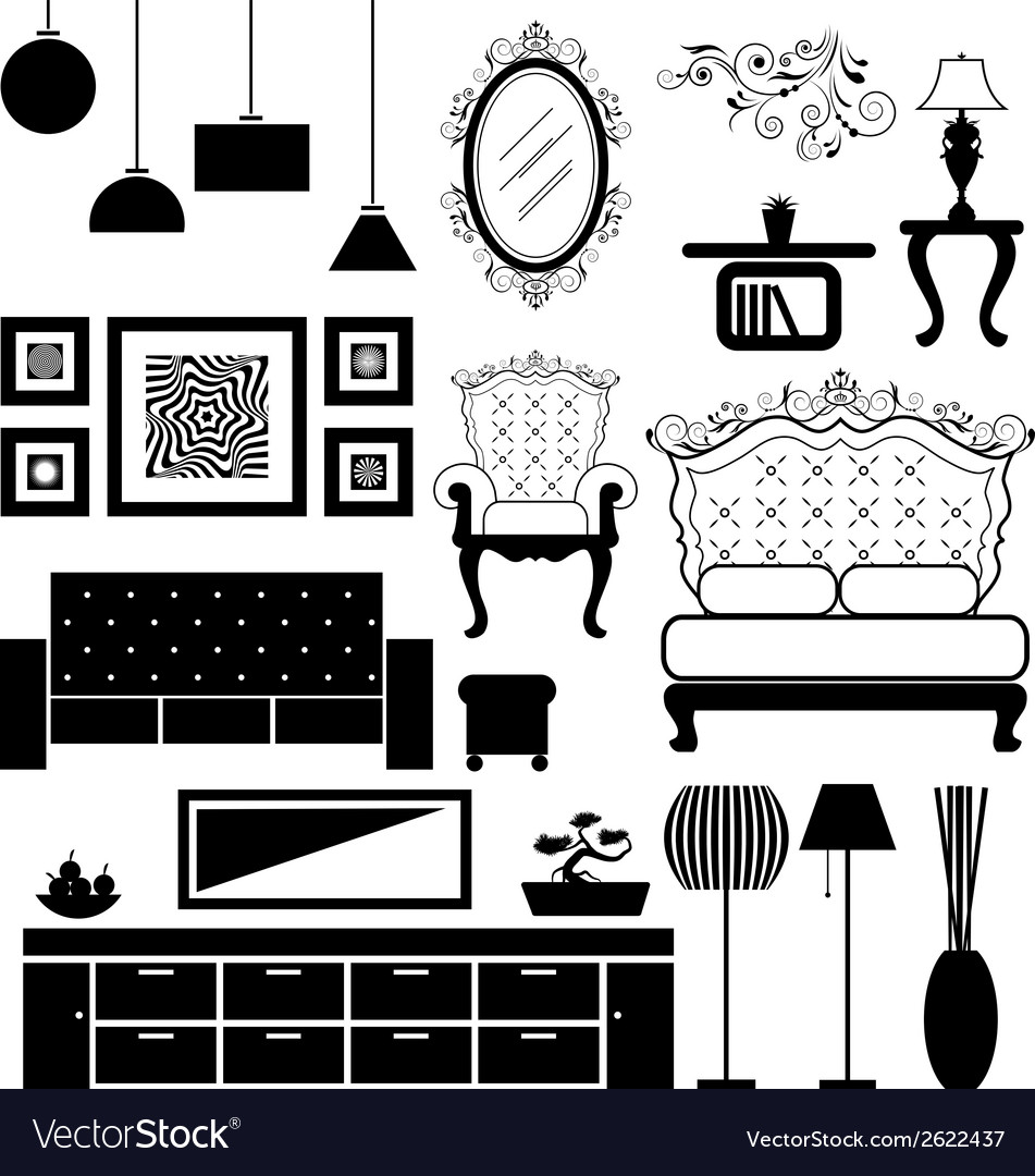 Antique and modern furniture vector | Price: 1 Credit (USD $1)