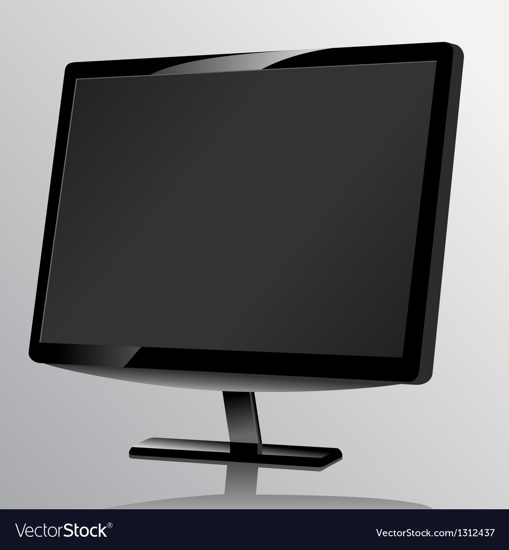 Blank computer monitor at the desk vector | Price: 1 Credit (USD $1)