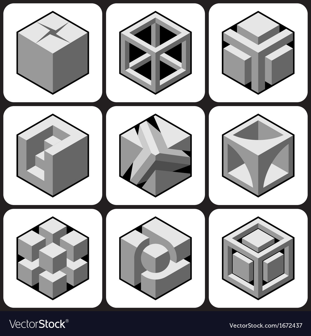 Cube icon set 1 vector | Price: 1 Credit (USD $1)