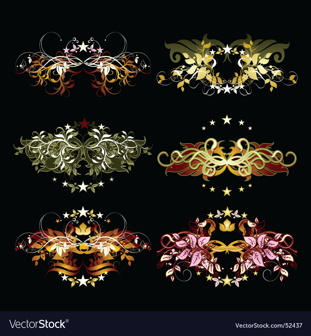 Decorative element set vector | Price: 1 Credit (USD $1)