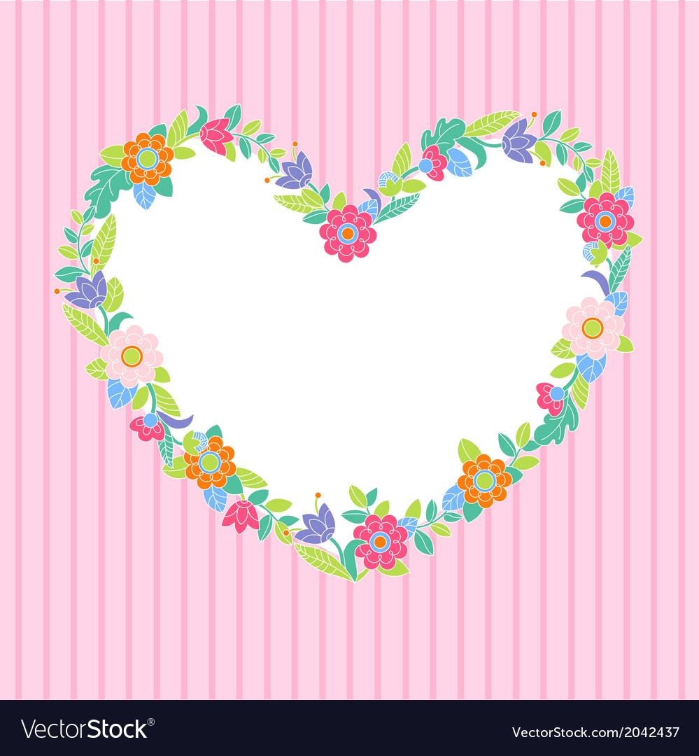 Flower heart frame vector | Price: 1 Credit (USD $1)