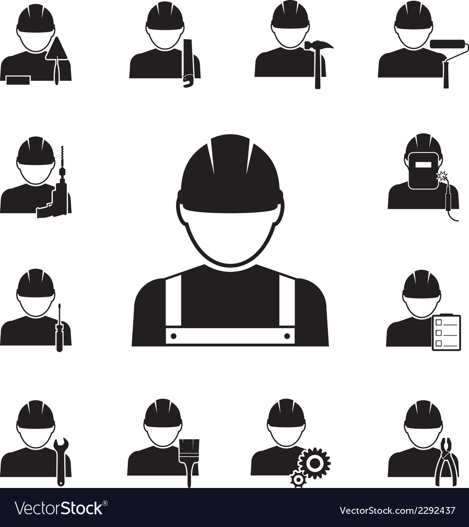 Icons of workmen coupled with different tools vector | Price: 1 Credit (USD $1)