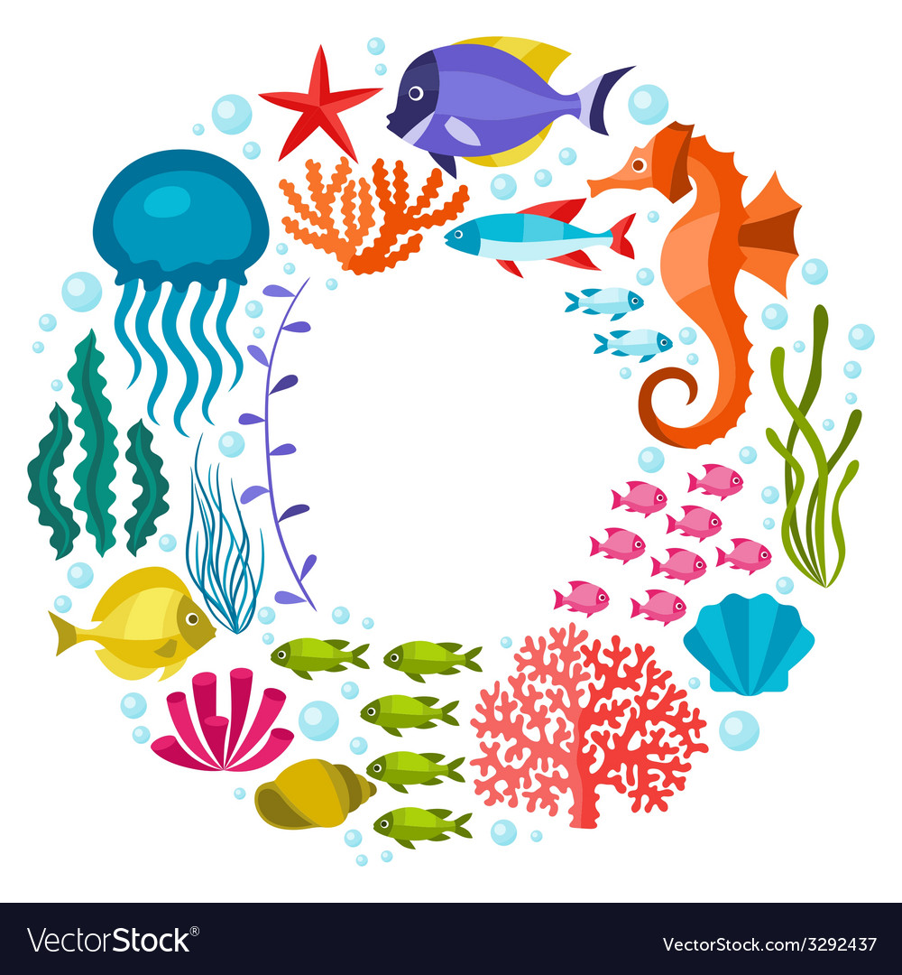 Marine life background design with sea animals vector | Price: 1 Credit (USD $1)