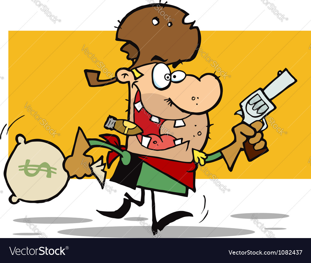Outlaw cowboy steals money vector   Price: 1 Credit (USD $1)