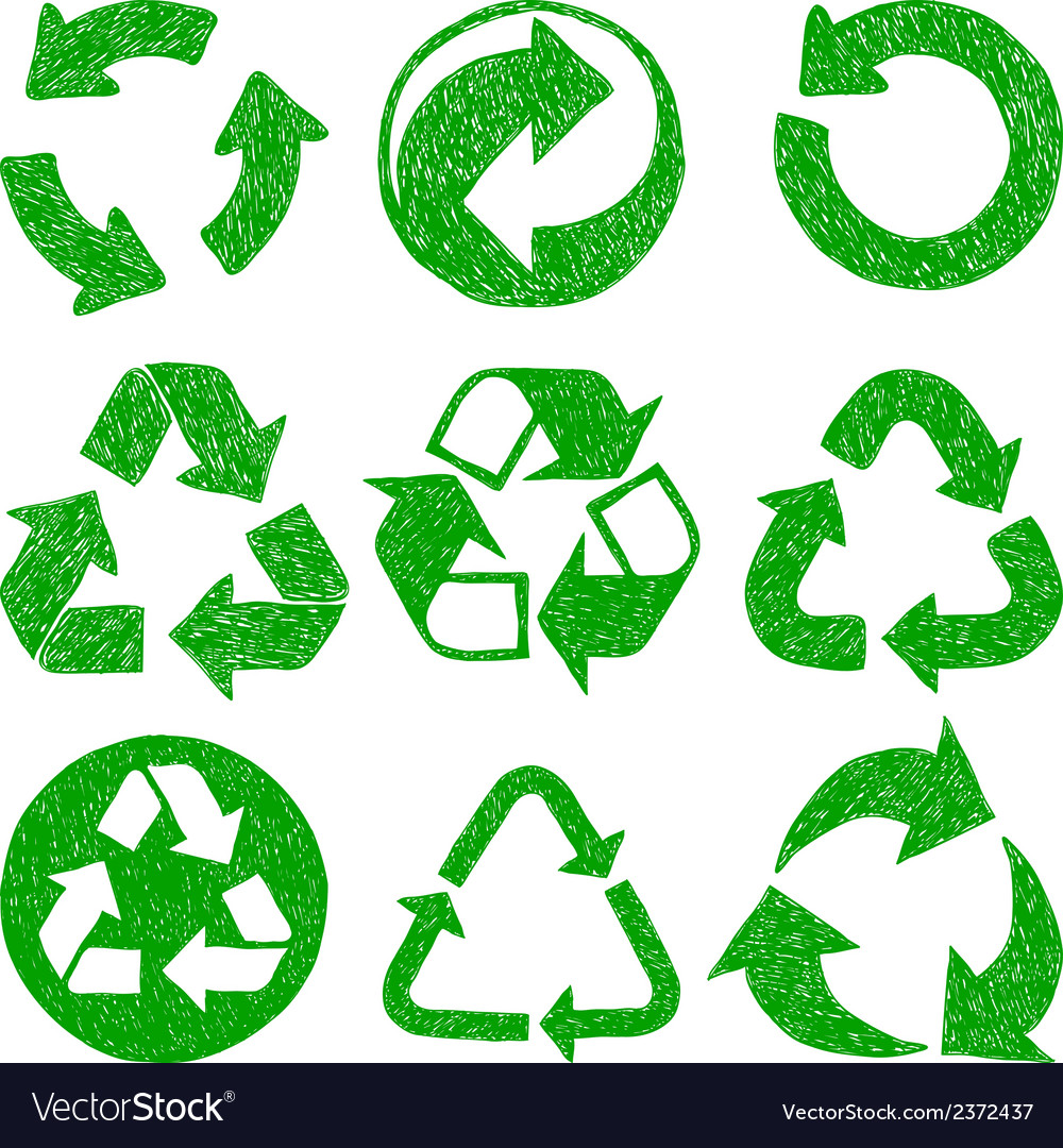 Recycle doodle icons vector | Price: 1 Credit (USD $1)