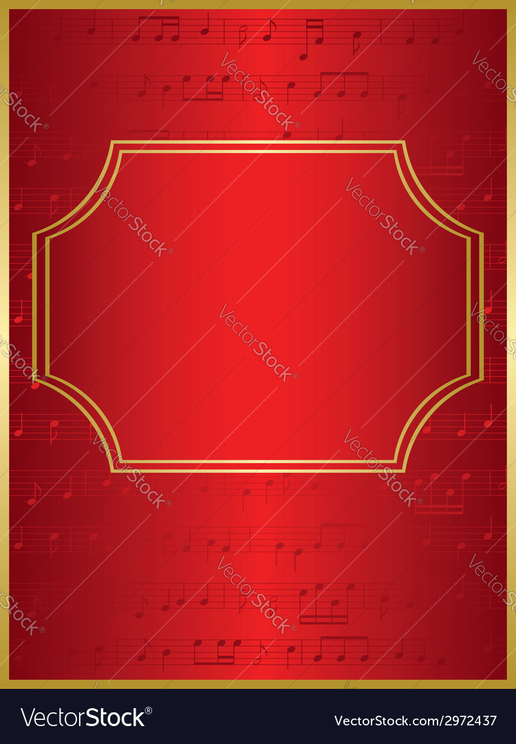 Red background and gold frame with musical notes vector | Price: 1 Credit (USD $1)