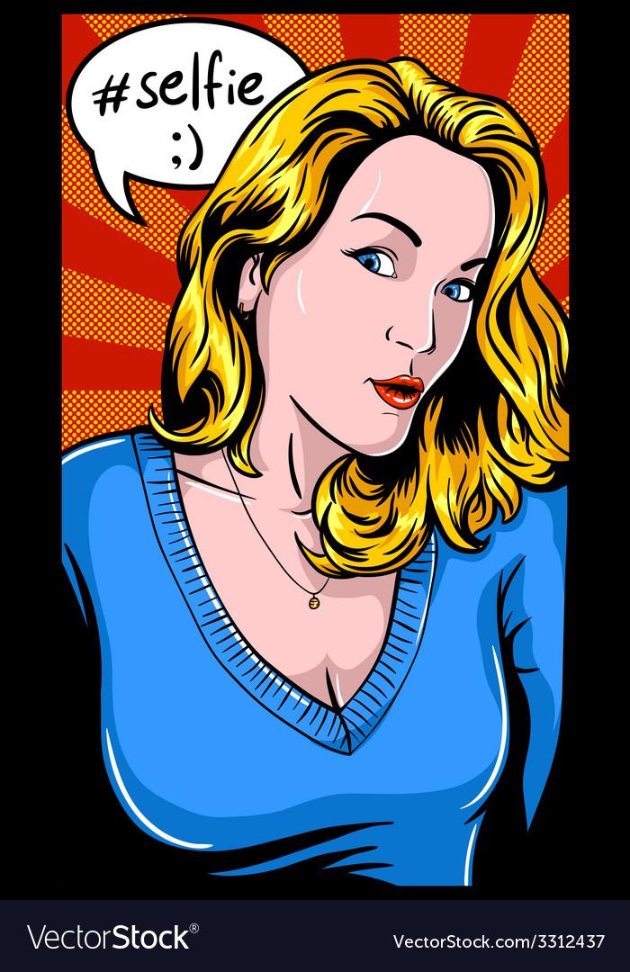 Selfie girl vector | Price: 3 Credit (USD $3)