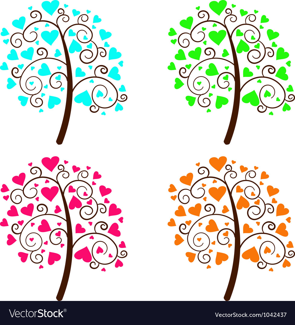 Valentine tree of love vector | Price: 1 Credit (USD $1)