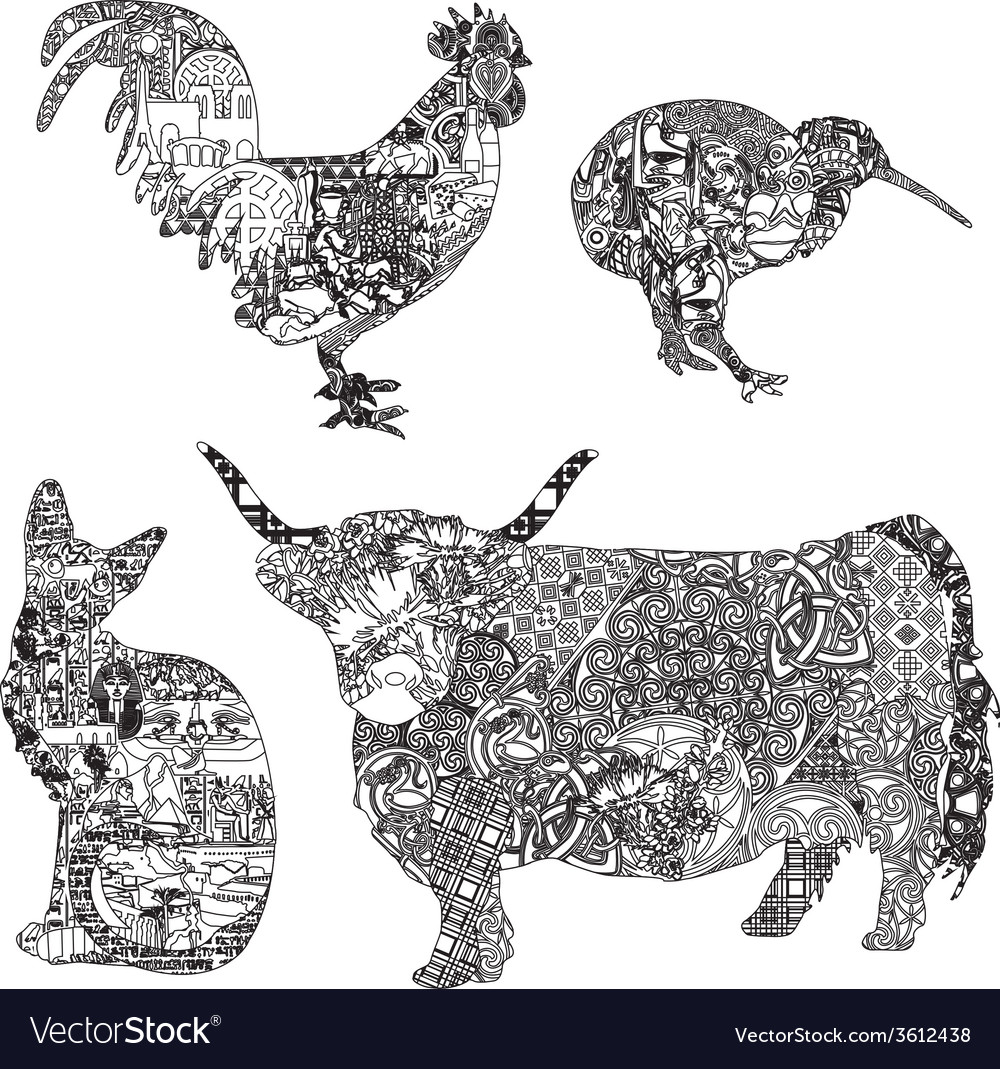 Animals in ethnic ornaments vector | Price: 1 Credit (USD $1)