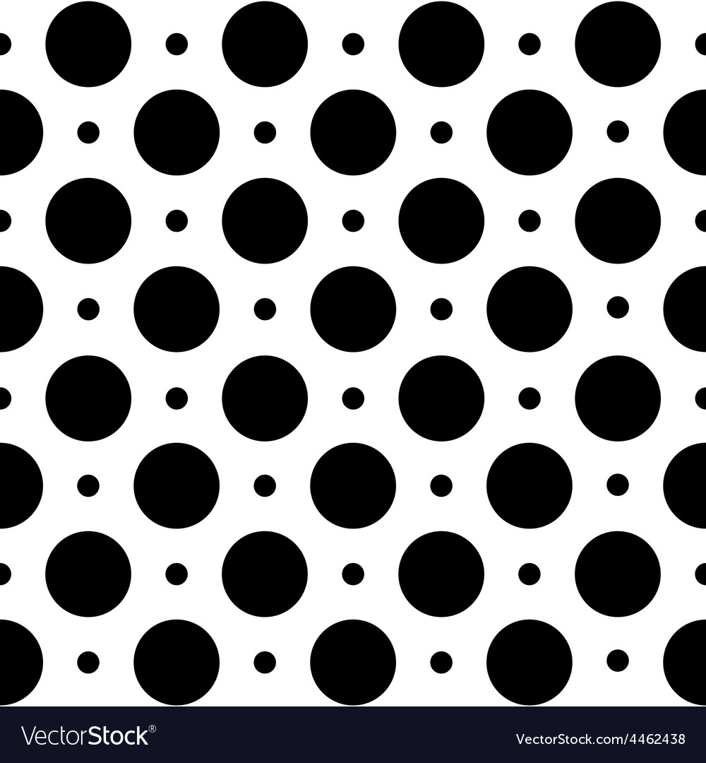 Black and white seamless geometric pattern in polk vector