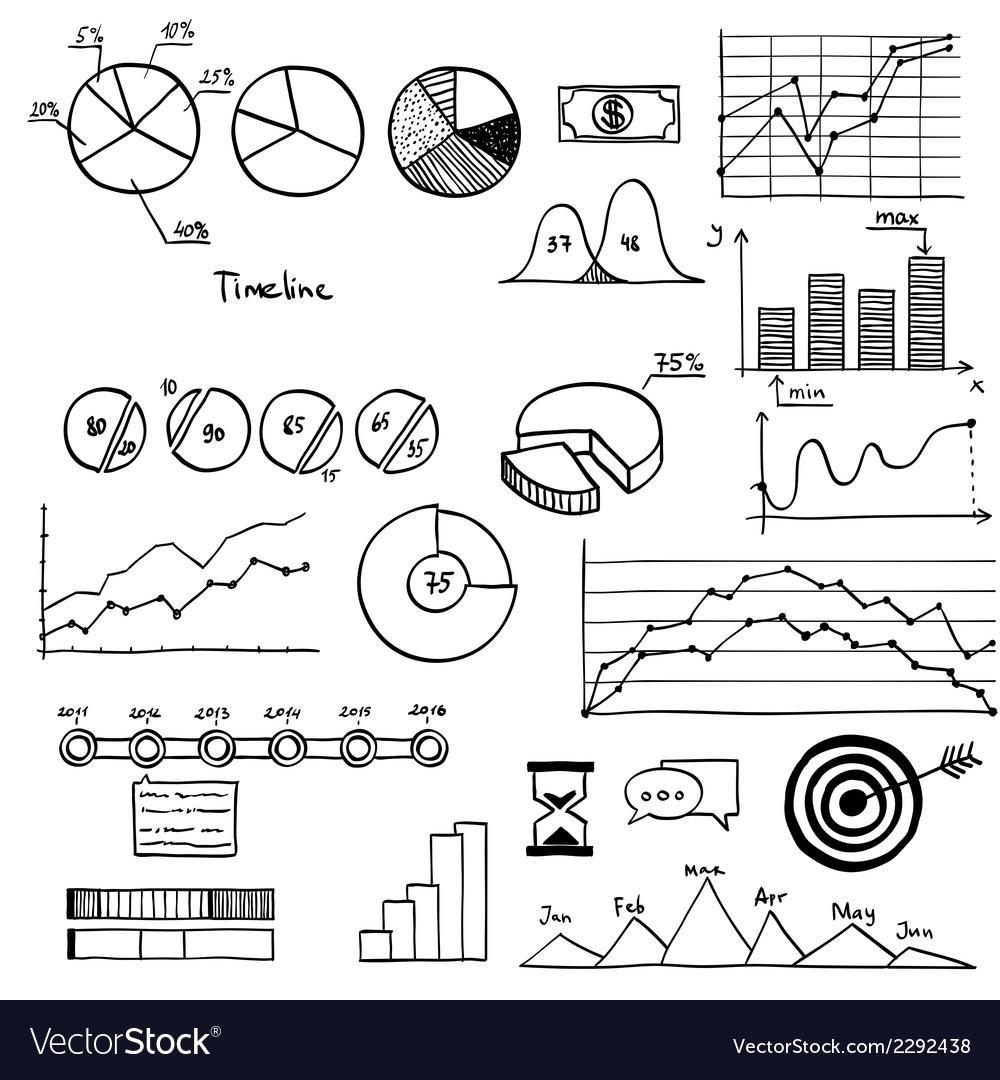 Business and finanse hand draw doodle elements vector | Price: 1 Credit (USD $1)
