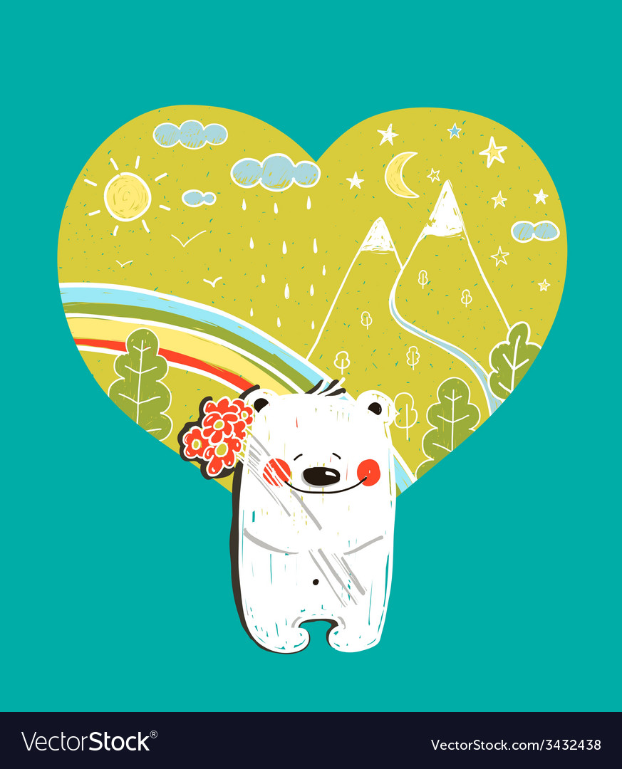 Cartoon baby bear with nature heart background and vector | Price: 1 Credit (USD $1)