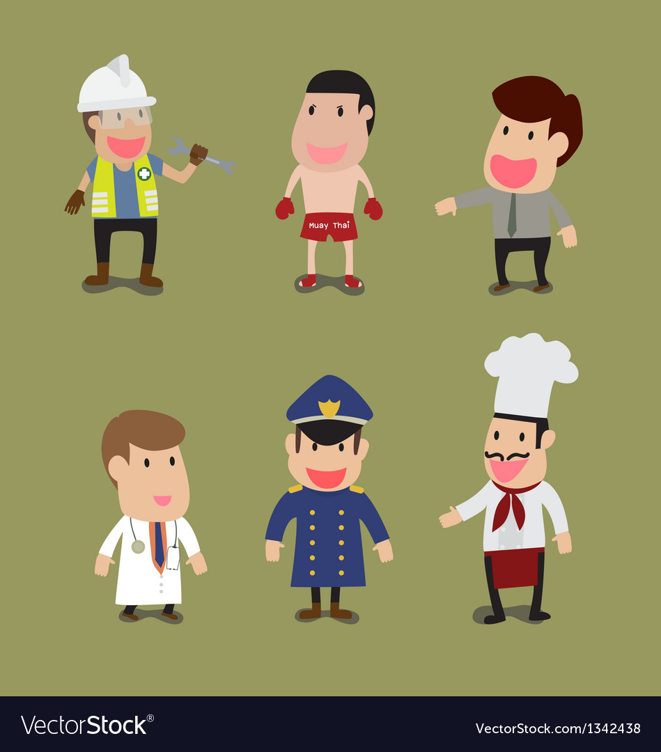 Cartoon of group of people in different occupation vector | Price: 3 Credit (USD $3)