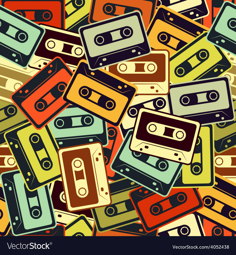 Cassettes seamless pattern in retro style vector | Price: 1 Credit (USD $1)