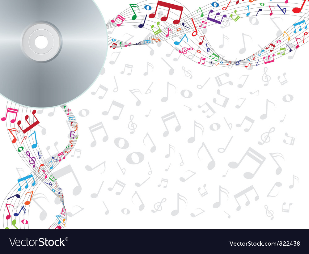 Colorful notes floating from cd dvd vector | Price: 1 Credit (USD $1)