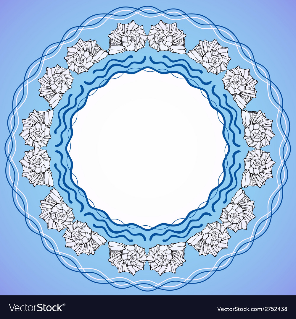 Decorative round frame with shells vector | Price: 1 Credit (USD $1)