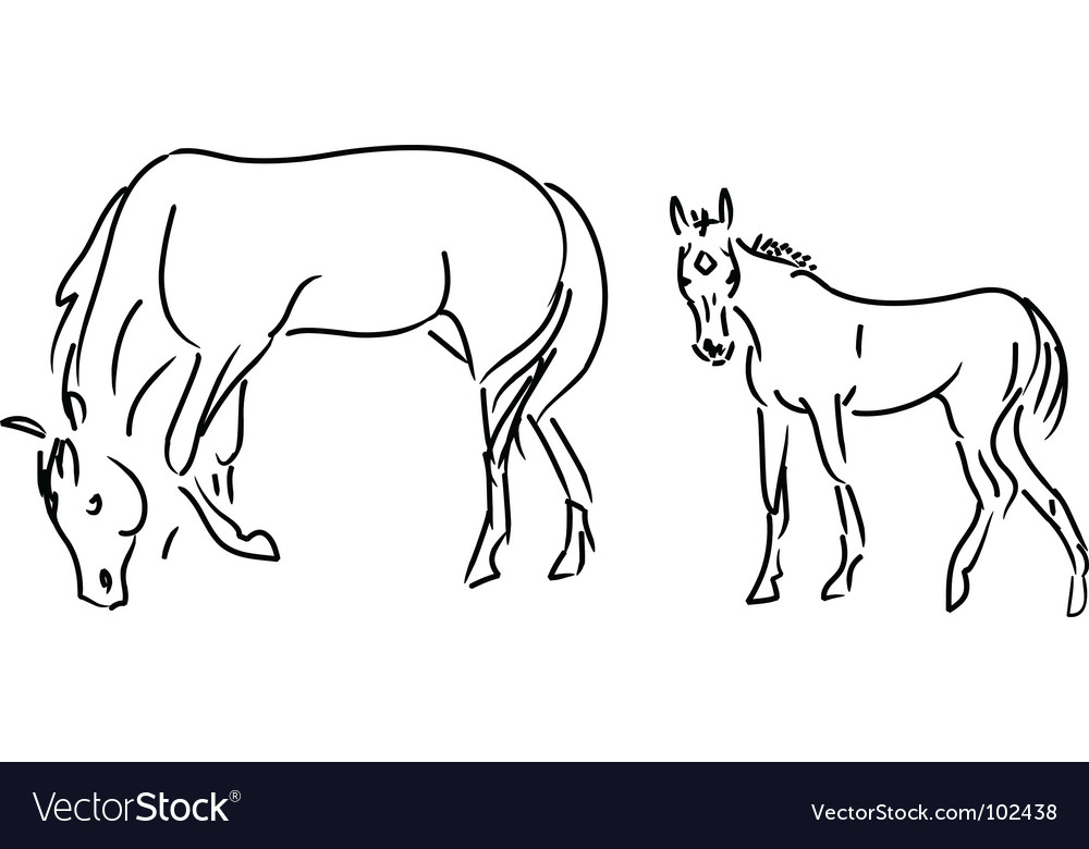Foal and mare vector | Price: 1 Credit (USD $1)