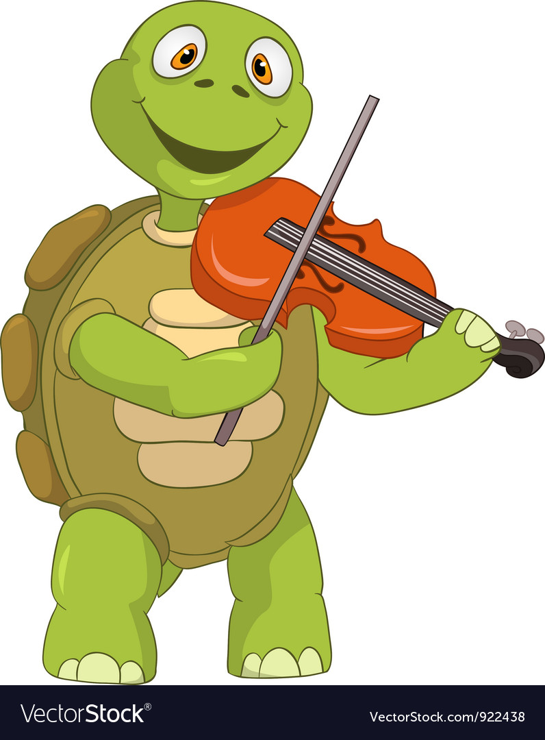 Funny turtle violinist vector | Price: 1 Credit (USD $1)