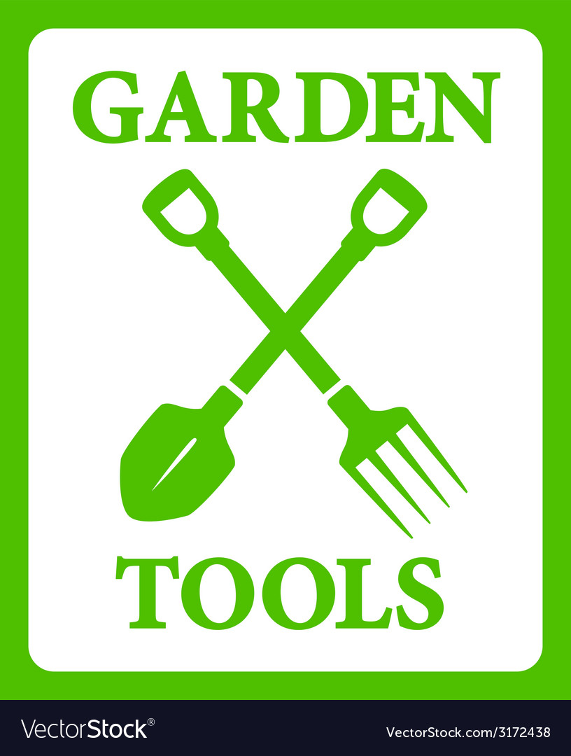 Green background with tools for gardening work vector | Price: 1 Credit (USD $1)