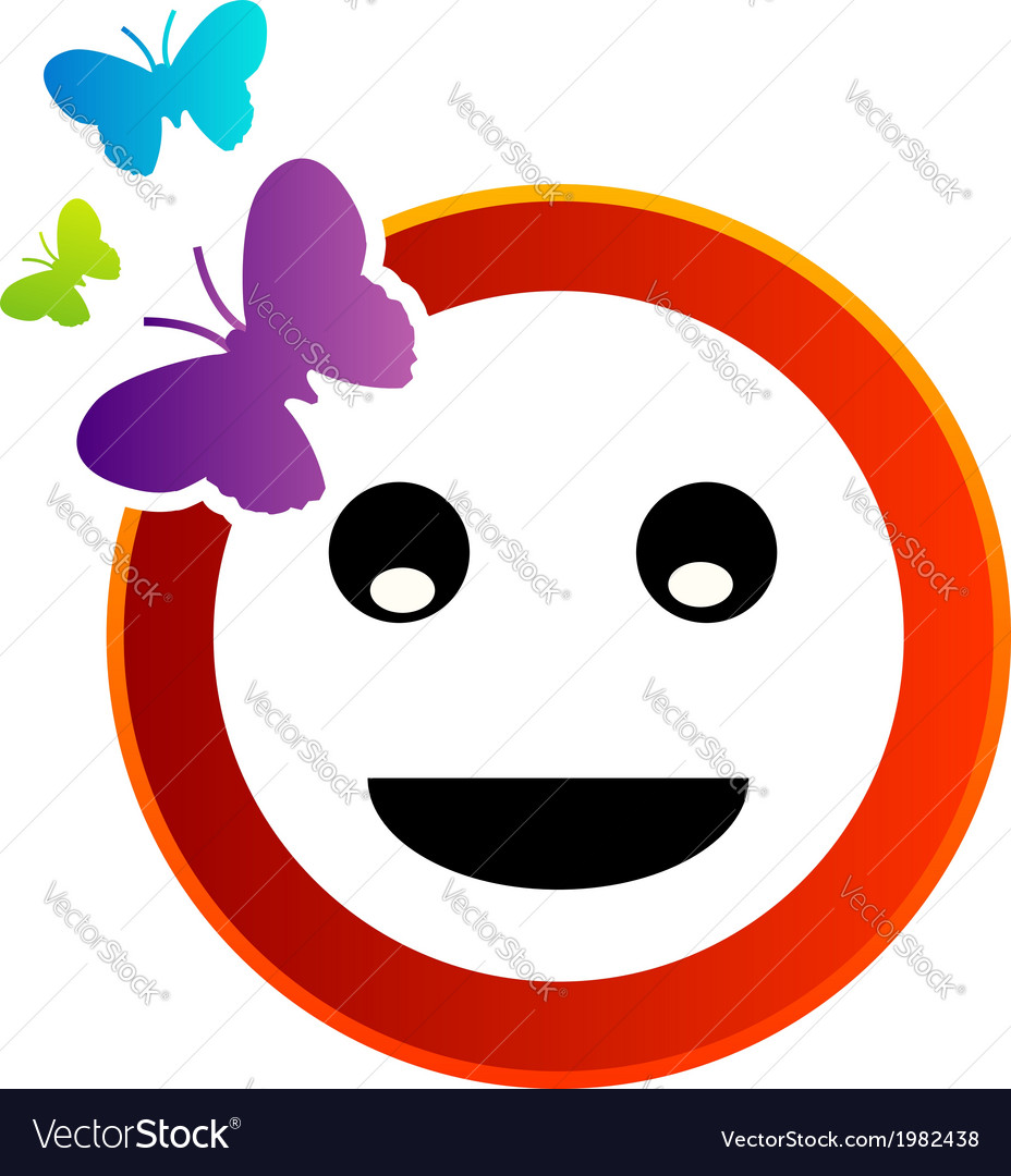 Happy smiley with butterfly vector | Price: 1 Credit (USD $1)