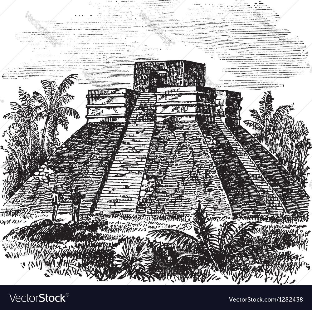 Palenque pyramid vintage engraving vector | Price: 1 Credit (USD $1)