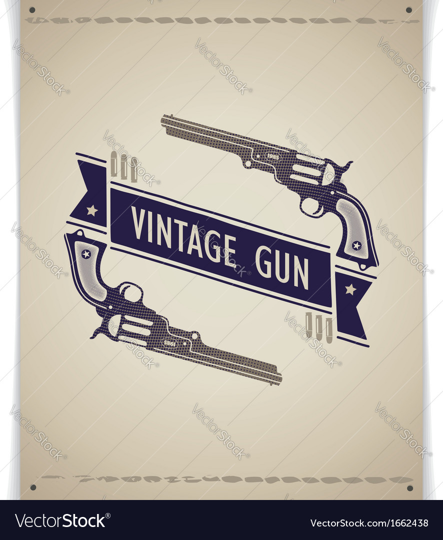 Two retro gun with tape and bullets vector | Price: 1 Credit (USD $1)
