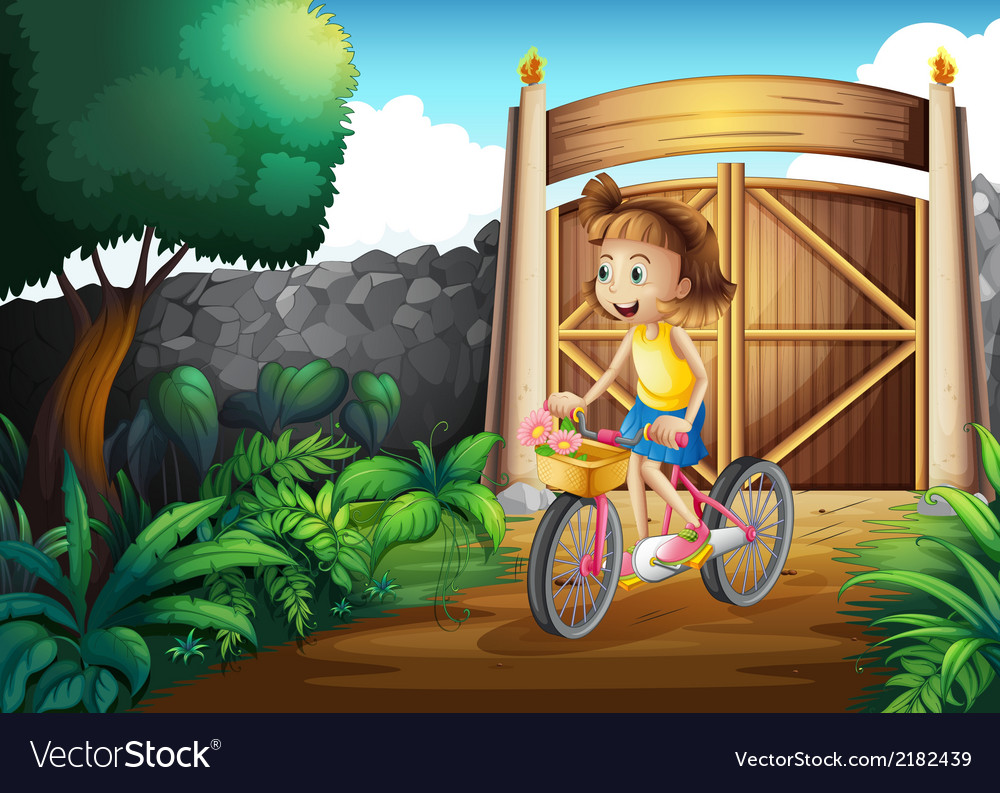 A child biking at the yard vector | Price: 3 Credit (USD $3)