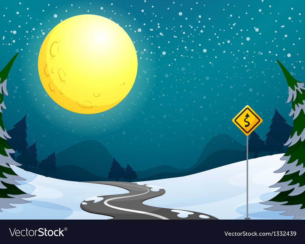 A long winding road under the bright full moon vector | Price: 1 Credit (USD $1)