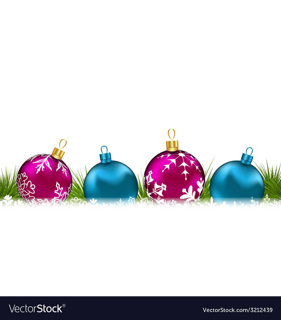 Christmas invitation with colorful glass balls - vector | Price: 1 Credit (USD $1)