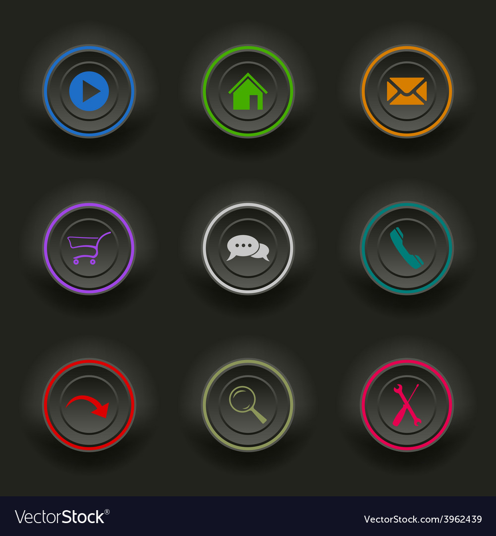 Colored set dark round buttons for web template vector | Price: 1 Credit (USD $1)