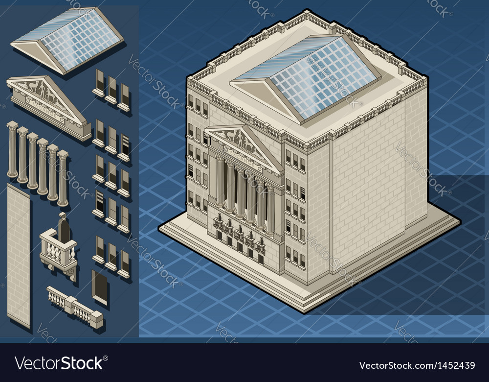 Isometric stock exchange building in new york wall vector | Price: 1 Credit (USD $1)
