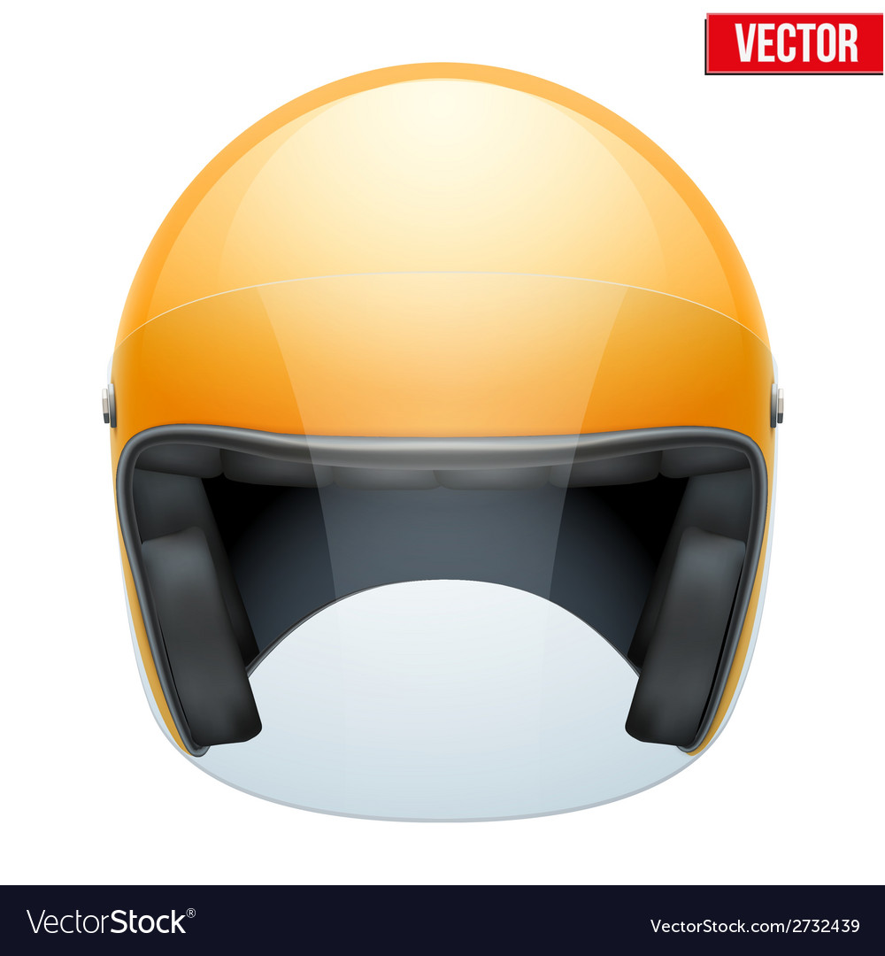 Orange motorbike classic helmet with clear glass vector | Price: 1 Credit (USD $1)