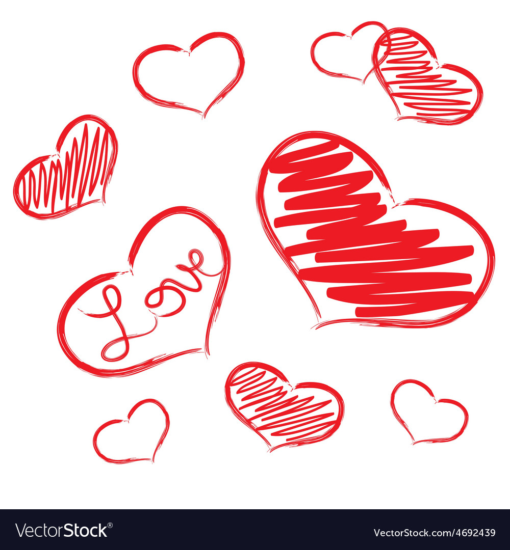 Red love heart symbols grunge hand-drawn eps10 vector | Price: 1 Credit (USD $1)