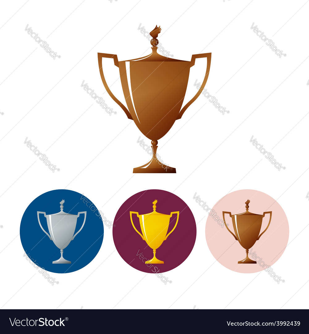 Set icons cups of winnericon trophy cup vector | Price: 1 Credit (USD $1)