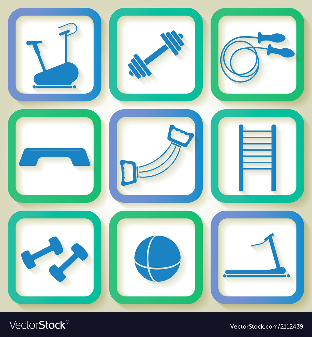 Set of 9 blue icons of the fintess club equipment vector | Price: 1 Credit (USD $1)