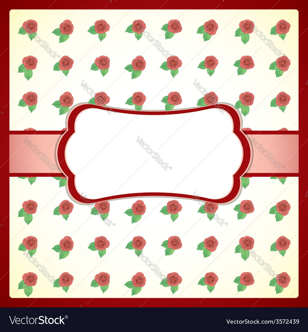 Vintage lace frame with roses vector | Price: 1 Credit (USD $1)