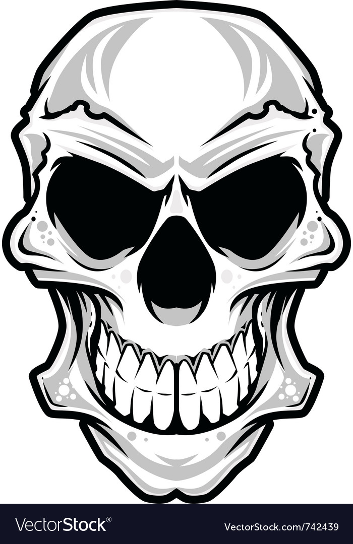 White angry skull vector | Price: 3 Credit (USD $3)