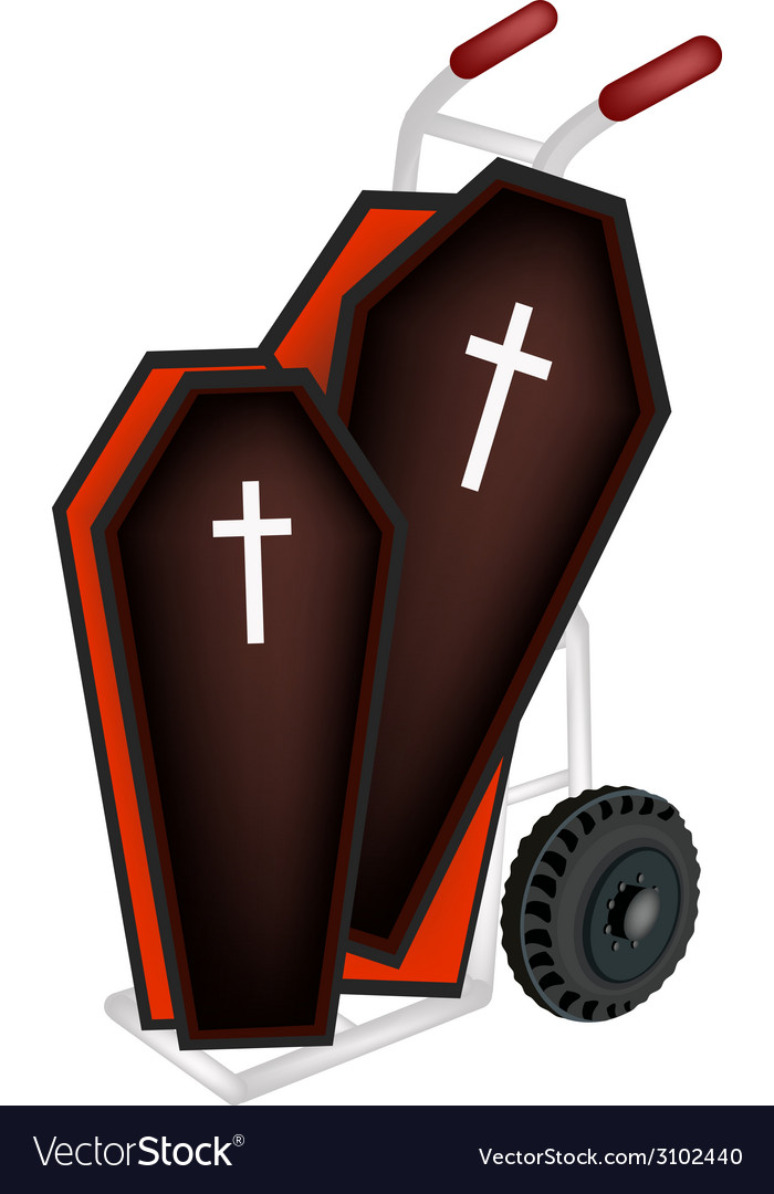 A hand truck loading two black coffin vector | Price: 1 Credit (USD $1)