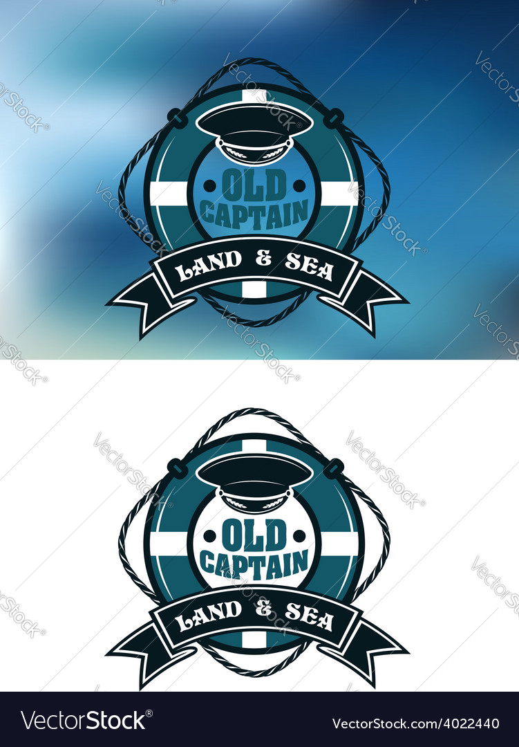 Captain emblem with cap and lifebuoy vector | Price: 1 Credit (USD $1)