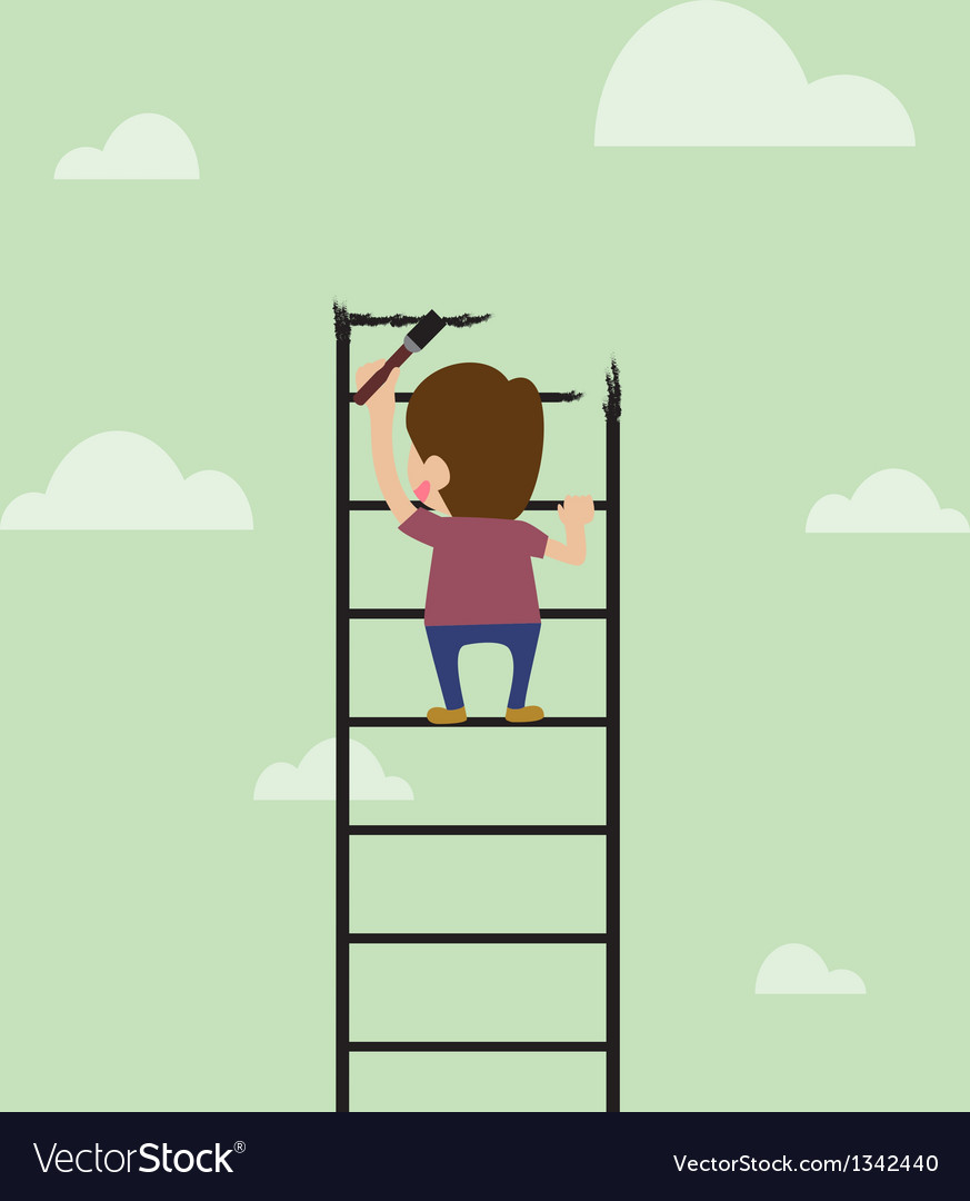 Cartoon of artist are painting ladder and also cli vector | Price: 1 Credit (USD $1)